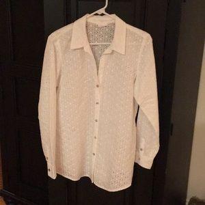 J Jill white button down shirt